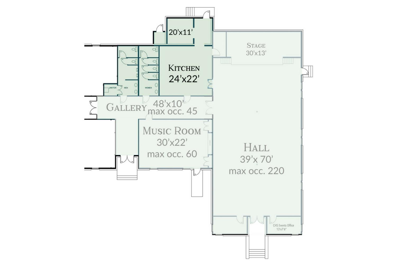 The Schoolhouse Commercial Kitchen Floorplan